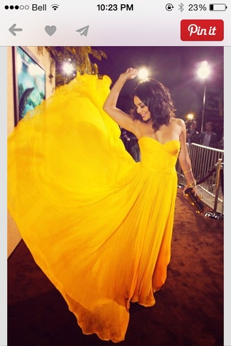 dress yellow yellow dress vanessa hudgens strapless bustier dress red carpet celebrity style
