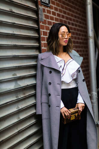 blouse tumblr nyfw 2017 fashion week 2017 fashion week streetstyle ruffle ruffled top white blouse pants black pants wide-leg pants coat grey coat bag boxed bag louis vuitton louis vuitton bag sunglasses mirrored sunglasses