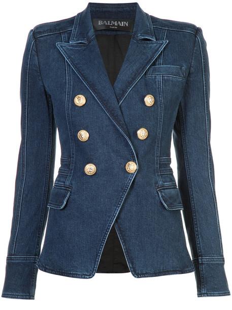 Balmain blazer denim women spandex embellished embellished denim cotton blue jacket