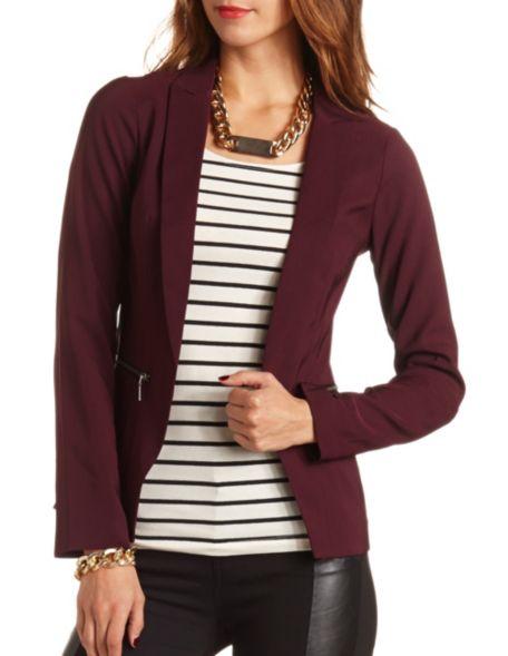Zip pocket woven blazer: charlotte russe