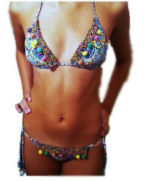 Pom pom triangle bikini – souvenir