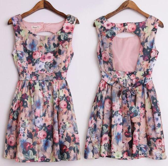 Malia floral backless skater dress
