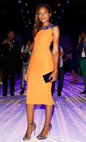 dress bodycon dress orange dress sandals naomie harris clutch victoria beckham victoria beckham dress prom shoes
