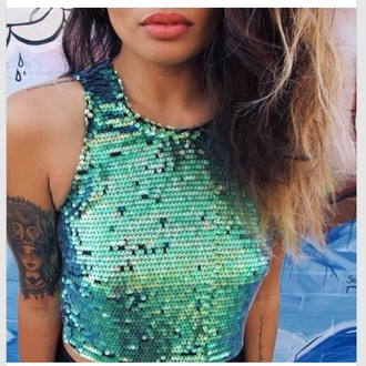 sea green top sequins sequins and stripes