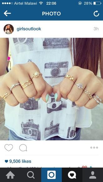 top camera shirt instagram shirt metallic cute metallic rings nails so fucking pretty