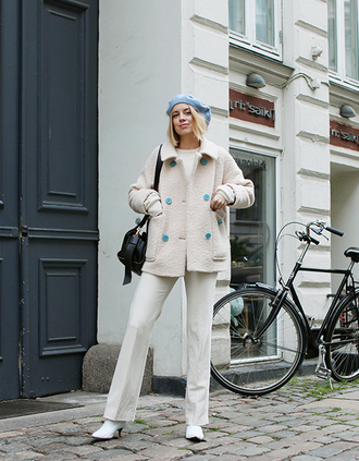 jacket tumblr white jacket all white everything pants white pants boots white boots beret