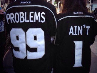 reebok black white shirt top jersey tee baseball tee 99 problems jersey 99 problems cute couple shirts t-shirt aint 1 jersey tee shirt couple clothing reebok questions