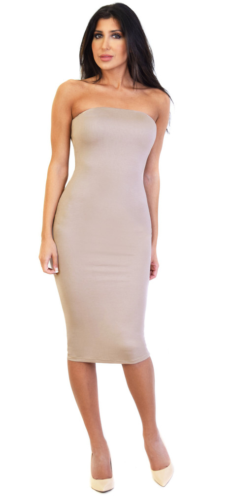 Emprada - Mocha Fitted Tube Midi Dress | Emprada
