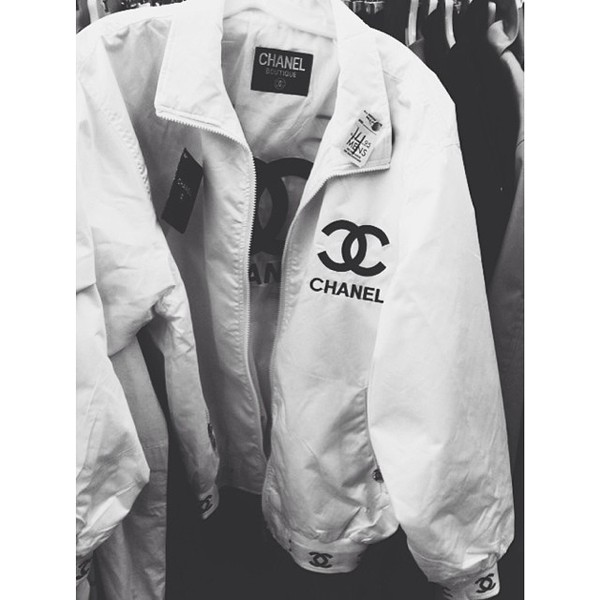 jacket chanel style jacket chanel chanel jacket black white b&w style windbreaker chanel