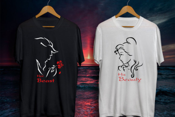 t-shirt her beast his beauty beautiful beauty and the beast disney love love tees valentines day gift idea christmas couples christmas presents couplestees couples shirts cool shirts rose roses lovely matching set