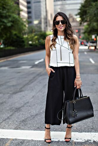 pants black culottes black pants culottes wide-leg pants sandals black sandals zara shoes zara high heel sandals top white top summer top bag black bag office outfits sunglasses summer outfits