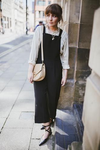jumpsuit overalls black overalls bag shoes sandals black shoes white shirt shirt