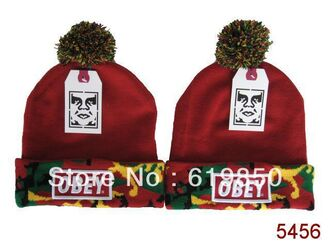 hat unisex burgundy yellow camouflage green black pom pom obey beanie
