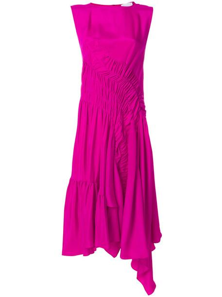 Koché dress draped dress women midi draped silk purple pink