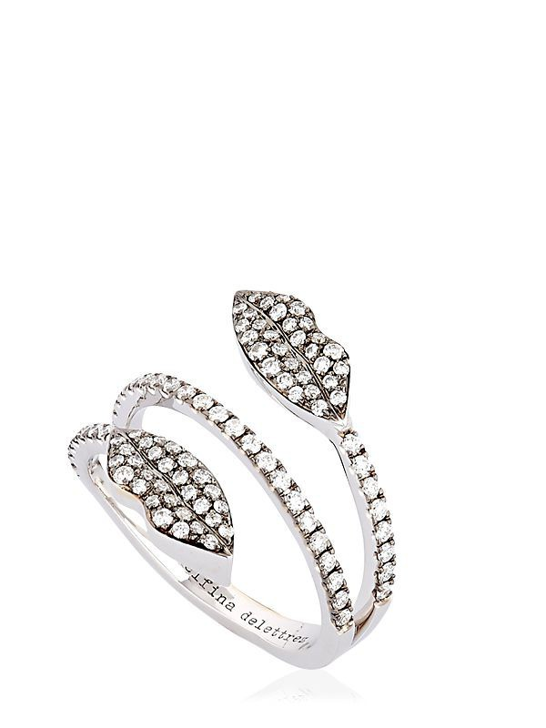 DELFINA DELETTREZ Marry Me Double Lips Ring in white