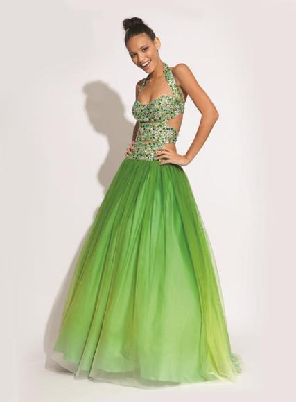 green dress celebrity dress cross design dress ombre dress 2014 dress evening gown dress ball gown dress