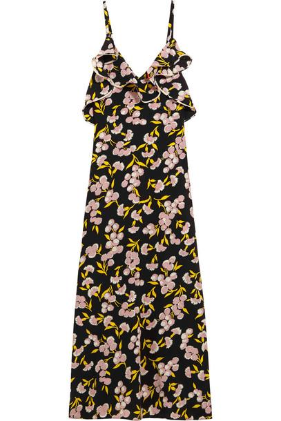 dress maxi dress maxi floral print silk satin rose black