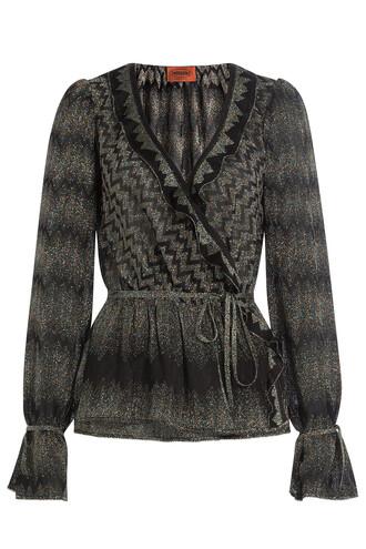 blouse knit crochet black top