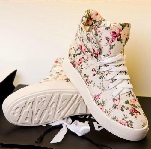 Black White Floral Print Lace Up Flat Platform Flatform Creeper High Top Canvas Sneakers Sport Casual Skateboard Shoes For Women-inFlats from Shoes on Aliexpress.com