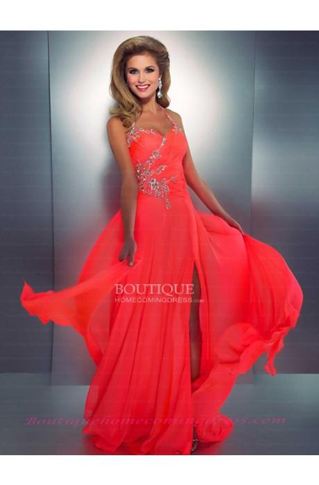 Line halter chiffon 2015 prom dress