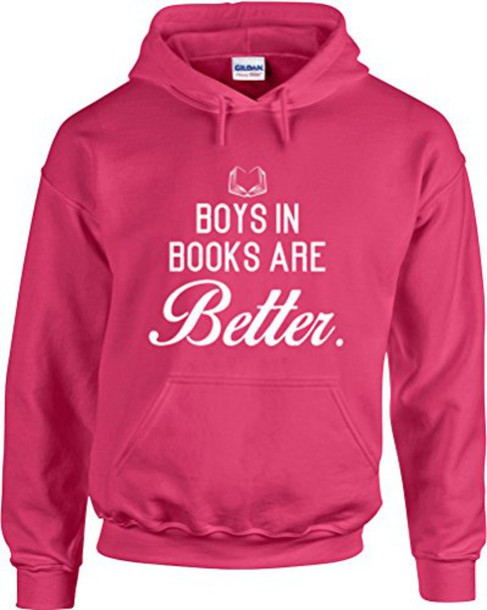 hoodie pink quote on it book printed sweater