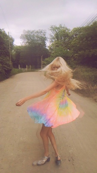 pink boho yellow boho dress tie dye dress rainbow rainbow tie dye summer dress bright light blue light purple light green peach