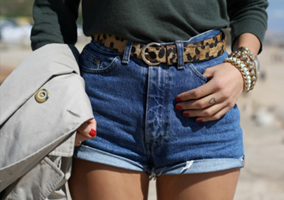 stacked jewelry shorts leopard print belt waist belt high waisted short jeans shorts green tucked in