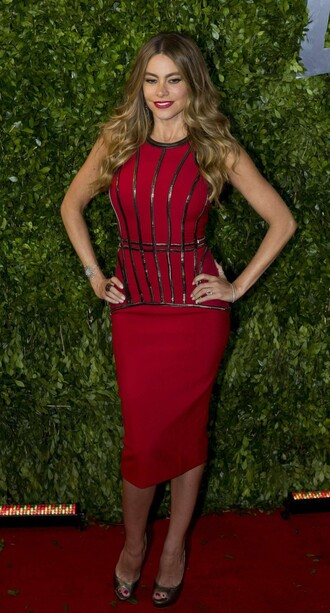 dress gown red dress bodycon sofia vergara sandals