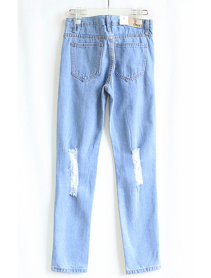 Blue Ripped Pockets Denim Pant - Sheinside.com