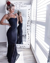 dress,navy,black dress,black,spaghetti strap,lace,sexy,mermaid prom dress,mermaid dresses,long dress,prom,formal dress