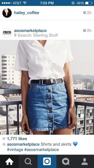 skirt jean skirt blue buttons top shirt summer