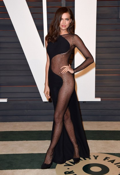 dress gown irina shayk red carpet dress sheer see through dress oscars 2015