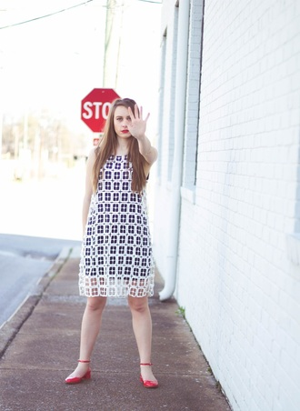 tennessee rose blogger red shoes flats see through dress
