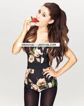 flowers,ariana grande,bodysuit,dolce and gabbana,top,floral,jumpsuit,romper,belt,waist belt,black belt,swimwear,black swimwear,pink,green,white,black,black and white,tights,black tights,Floral tights,hair extensions,great lengths hair extensions,clip in hair extensions,strawberry,lipstick,pink lipstick,foundation,eyebrows,white nail polish,white nailpolish
