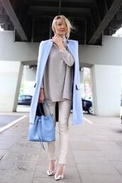 ohh couture,blogger,sweater,light blue,blue coat,blue bag,bag,jacket,pants,shoes,jewels,pastel bag,classy