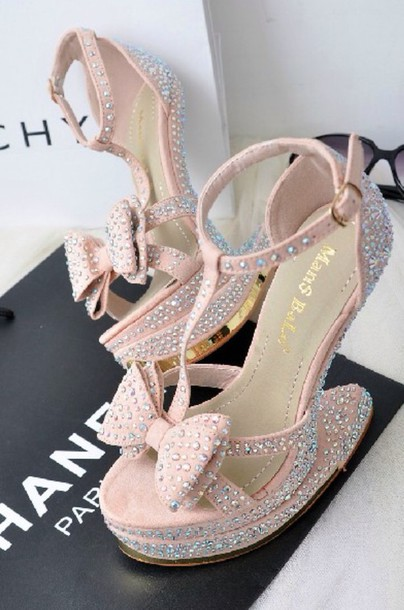 2774148e2 shoes shoes heels wedges mint blue pastel cute crystal platform high heels  nude pink soft swarovski