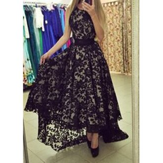 dress maxi black lace long sleeves halter top stylish fashion hot clothes black lace dress