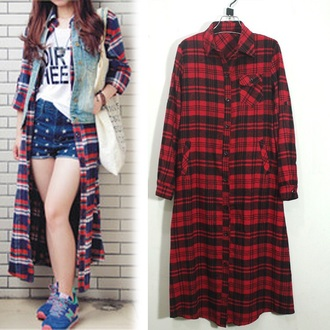 blouse plaid red black square style long urban fashion plaid jacket