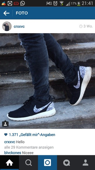 shoes black flowers roshe runs nike roshe run