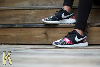 shoes roses black flowers nike roshe run floral nike fitness