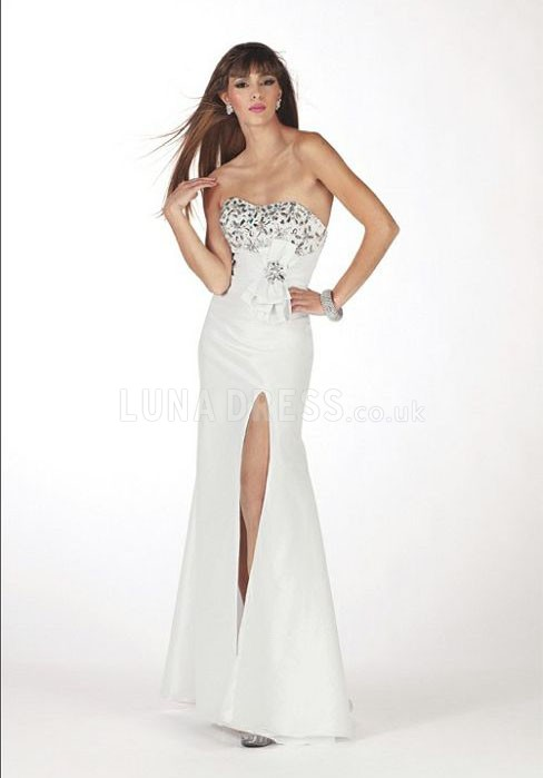 Pleasant Taffeta Fit N Flare Lace up Sweetheart Sweep Train Prom Gown - Lunadress.co.uk