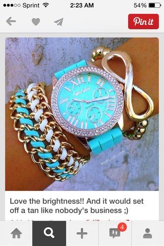 jewels watch tiffanyblue aqua teal infinity gold bracelets chains