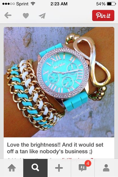 tiffanyblue teal aqua gold jewels watch infinity bracelets chain