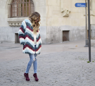 rebel attitude blogger coat sweater jeans shoes fur coat high heels boots ankle boots