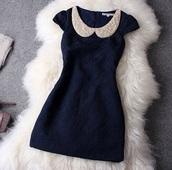 dress,blue dress,peter pan collar,classy,royal blue dress,sequins,crystal,beaded dress