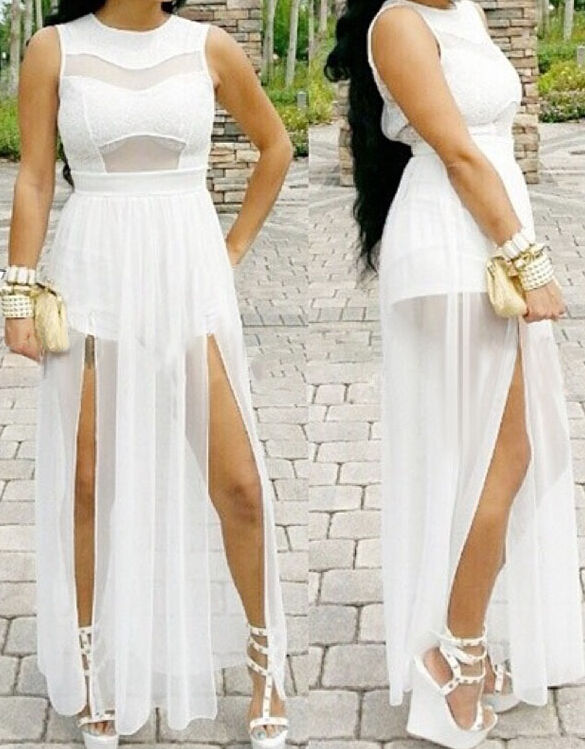 Women sexy new angel white doube slits party clubwear jumpsuit playsuits rompers