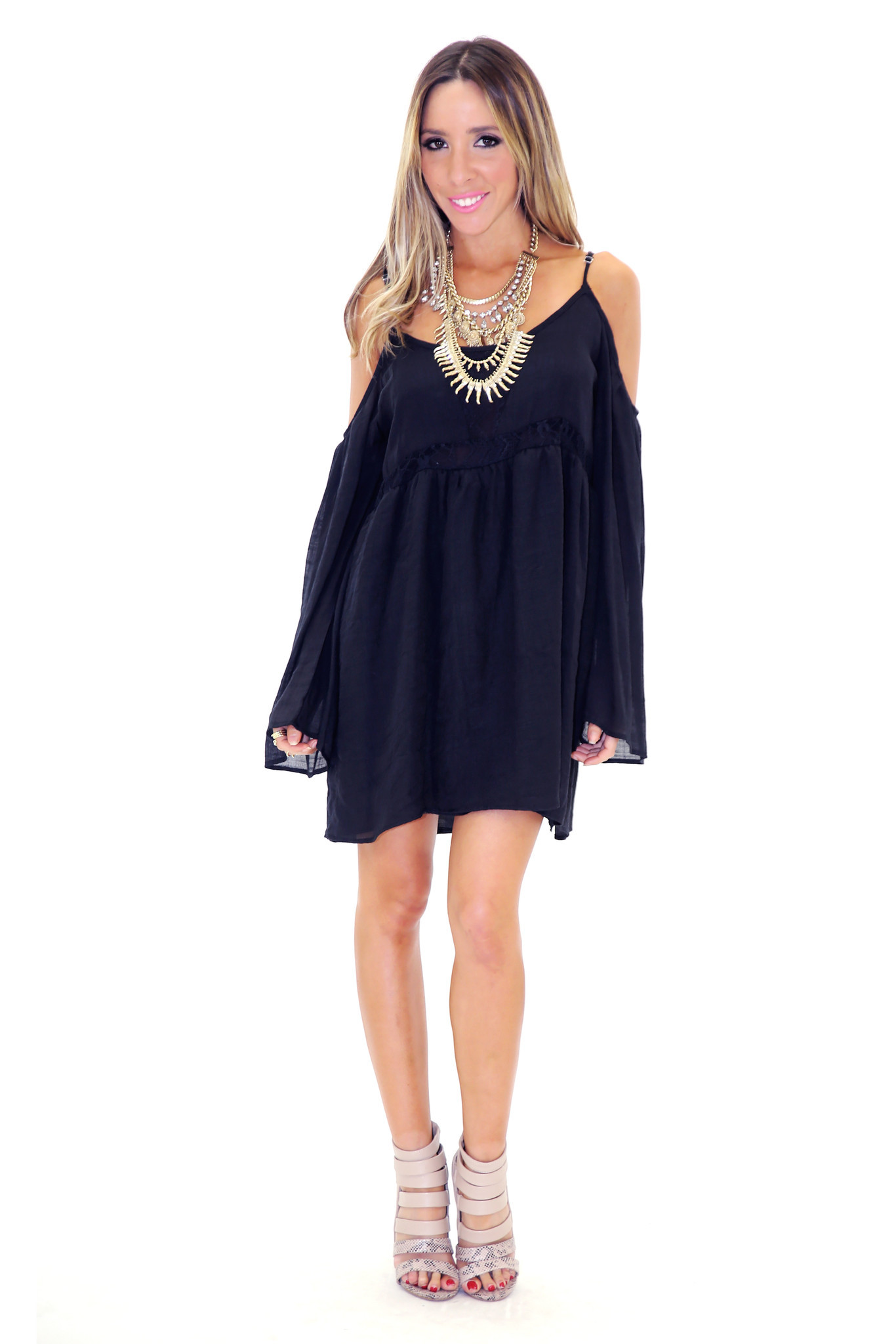 FEATHER BELL SLEEVE SUN DRESS - BLACK | Haute & Rebellious