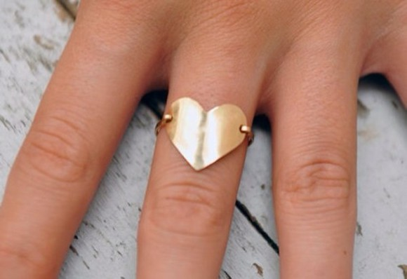 jewels ring gold ring swag cute summer in trend heart heart of gold gold heart ring gold heart