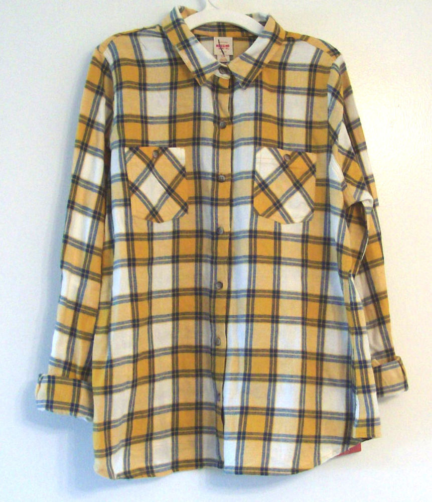 Mossimo Supply Co Womens Plaid Flannel Button Down Shirt Sizes XS s L | eBay