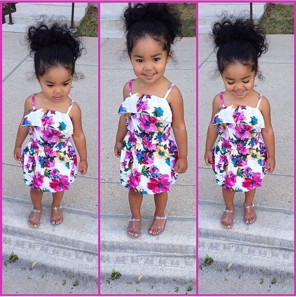 floral girls toddler kids fashion flower print dress Ella Jayce